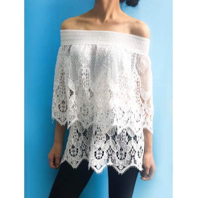 Women's Stylish Off The Shoulder Lace 3/4 Sleeve Cover-Up