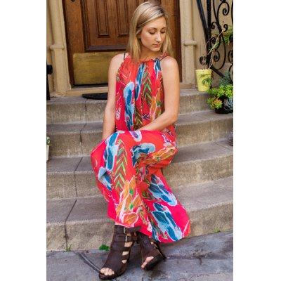 Casual Colorful Floral Printed Sleeveless Chiffon Maxi Dress For Women