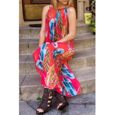 Sleeveless Colorful Floral Printed Chiffon Maxi Dress