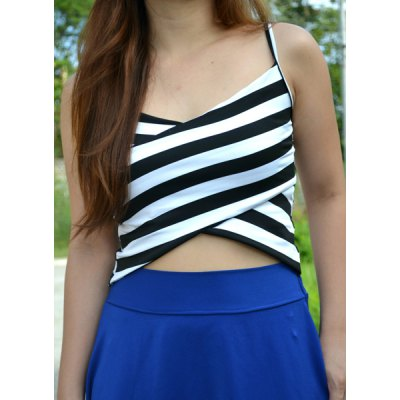 Spaghetti Strap Sleeveless Striped Low Cut Crop Top
