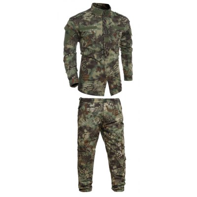 Men's Stand Collar Pockets Camo Printing Training Suits (Jacket+Pants)