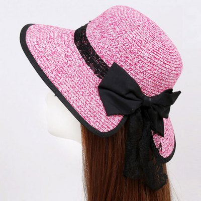 Bow and Lace Embellished Black Covered Edge Straw Hat For Women