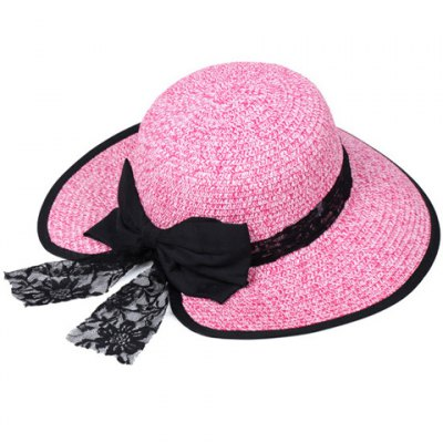 Chic Bow and Lace Embellished Black Covered Edge Straw Hat For Women