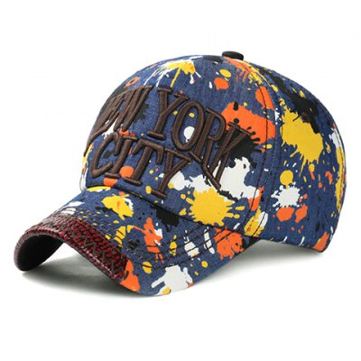 Letters Embroidery Multicolor Splash-Ink Pattern Jeans Baseball Cap