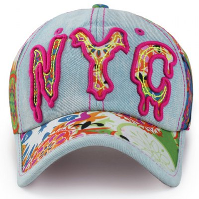 Melting Letter Shape Embroidery Jeans Baseball Cap For Women