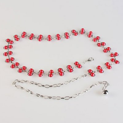 Candy Color Pearls Decorated Alloy Waist Chain