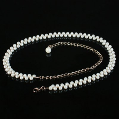 Chic Pearls Decorated Alloy Waist Chain For Women