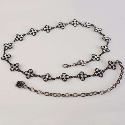 Chic Rhinestones Decorated Flowers Pattern Alloy Waist Chain For Women
