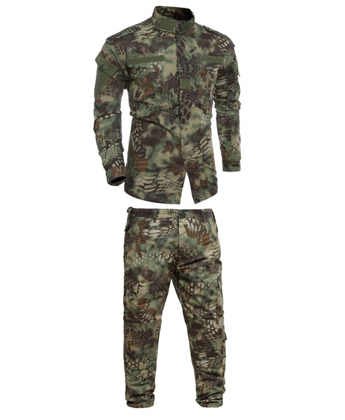 Stand Collar Men's Pockets Camo Printing Training Suits (Jacket+Pants)