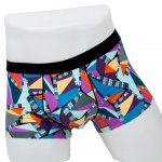 Elastic Waist Geometric Printed Spliced Comfortable Boxer Brief For Men