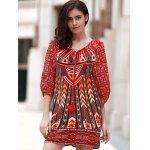 cheap Vintage V Neck 3/4 Sleeves Printed Women's Dress