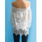 cheap Women's Stylish Off The Shoulder Lace 3/4 Sleeve Cover-Up