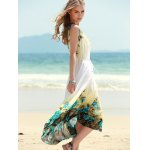 Refreshing Floral Print Sleeveless Women's Chiffon Dress for sale