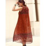 Bohemian Scoop Neck Sleeveless Loose-Fitting Printed Women's Dress for sale