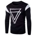 Round Neck Color Block Inverted Triangles Pattern Long Sleeve Men's T-Shirt