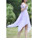 cheap Sweet Style Square Neck Solid Color Hollow Out Hankerchief Dress For Women