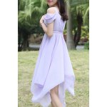 Sweet Style Square Neck Solid Color Hollow Out Hankerchief Dress For Women deal