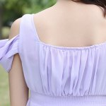 Sweet Style Square Neck Solid Color Hollow Out Hankerchief Dress For Women photo