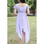 Sweet Style Square Neck Solid Color Hollow Out Hankerchief Dress For Women for sale