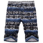 cheap Casual Straight Leg Tribal Print Lace-Up Shorts For Men