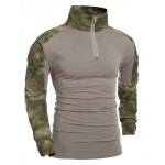 Outdoor Pullover Half Zip Camo Splicing T-Shirt For Men