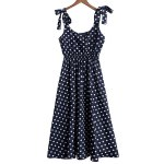 Cute Sweetheart Neck Sleeveless Polka Dot Printed Chiffon Midi Dress For Women for sale