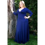 Plunging Neckline 3/4 Sleeve Plus Size Solid Color Dress For Women deal