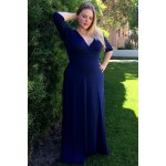 Plus Size Low Cut Prom Dress with Sleeves for sale