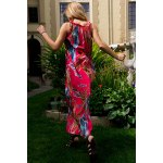 Casual Colorful Floral Printed Sleeveless Chiffon Maxi Dress For Women deal