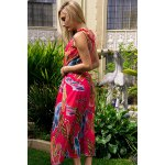 best Colorful Floral Printed Sleeveless Chiffon Maxi Tropical Dress