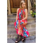 cheap Casual Colorful Floral Printed Sleeveless Chiffon Maxi Dress For Women