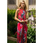 Colorful Floral Printed Sleeveless Chiffon Maxi Tropical Dress for sale