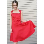 Vintage Turn-Down Collar Sleeveless Solid Color Bowknot Embellished Women's Dress deal