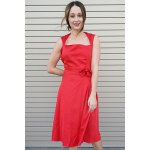 cheap Vintage Turn-Down Collar Sleeveless Solid Color Bowknot Embellished Women's Dress