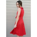 Vintage Turn-Down Collar Sleeveless Solid Color Bowknot Embellished Women's Dress photo