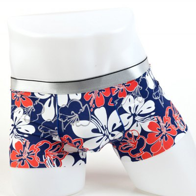 Elastic Waist Flowers Pattern Comfortable Boxer Brief For Men