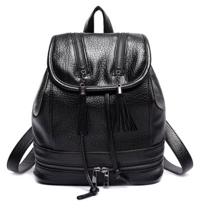 Leisure Tassels and Zips Design Satchel For Women