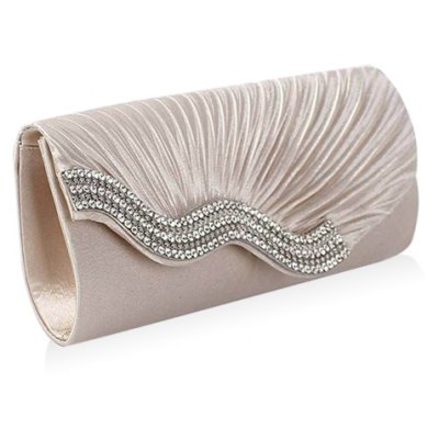 Gorgeous Ruched and Rhinestone Design Evening Bag For Women