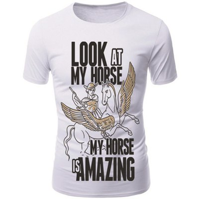 3D Cartoon Pegasus Print Character T-Shirt