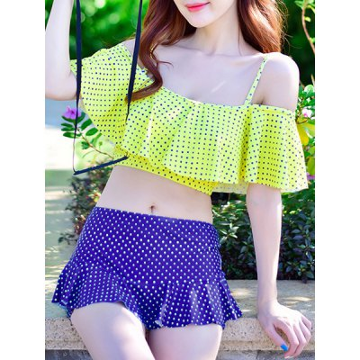 Flounced Top and Pleated Culotte Two-Piece Swimwear