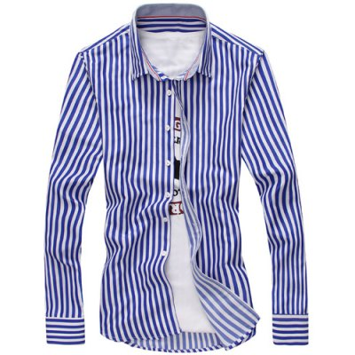 Vertical Stripe Turn-Down Collar Long Sleeve Shirt For Men