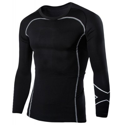 Casual Round Neck Stripes Pattern Black Long Sleeves Sweat Dry Tight T-Shirt For Men