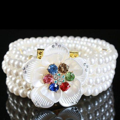 Artificial Gem Flowers Decorated Pearls Waist Chain For Women