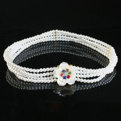 Chic Artificial Gem Flowers Decorated Pearls Waist Chain For Women