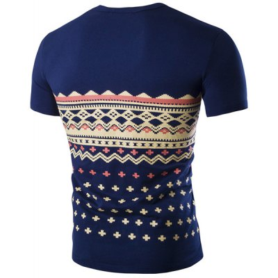 Fashion Round Neck Geometric Print Short Sleeves Slimming T-Shirt For MenMens Short Sleeve Tees<br>Fashion Round Neck Geometric Print Short Sleeves Slimming T-Shirt For Men<br><br>Collar: Round Neck<br>Material: Cotton Blends<br>Package Contents: 1 x T-Shirt, 1 x T-Shirt<br>Pattern Type: Geometric, Geometric<br>Sleeve Length: Short<br>Style: Fashion<br>Weight: 0.212kg, 0.212kg