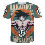 Fashion Round Collar Pullover Dragonball Printing T-Shirt For Men