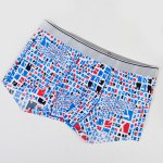 cheap Elastic Waist Irregular Checked Pattern Comfortable Boxer Brief For Men