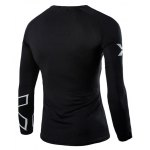 cheap Casual Round Neck Stripes Pattern Black Long Sleeves Sweat Dry Tight T-Shirt For Men