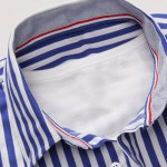Vertical Stripe Turn-Down Collar Long Sleeve Shirt For Men deal