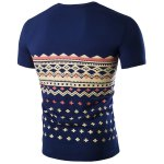 cheap Fashion Round Neck Geometric Print Short Sleeves Slimming T-Shirt For Men